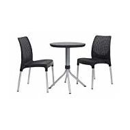 Keter Jersey – Table et chaises de Jardin en rotin, 4 Places Set 2 Places 2 Places Gris